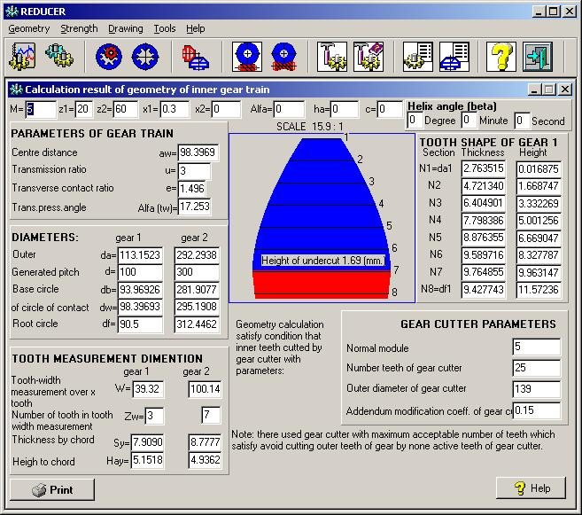 Reducer - calculate geometrical parameters and strength of